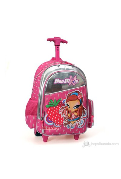 Pop Pixie Çekçek Okul Çantası 30*38*18 cm (Pembe-Gri)