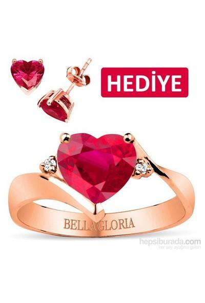 Bella Gloria Kırmızı Kuartz Topaz Roz Aşk Yüzüğü (GPY0044) - Kalp Küpe Hediyeli !