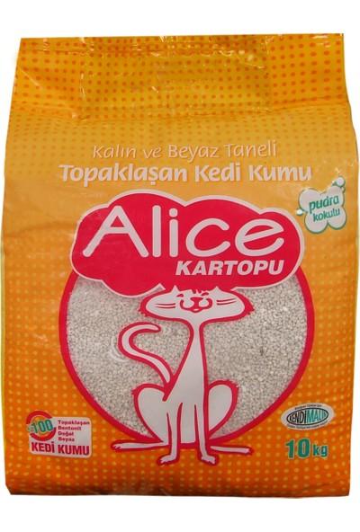 Alice Kartopu Kalın Taneli Topaklaşan Pudra Kokulu Kedi Kumu 10 Kg