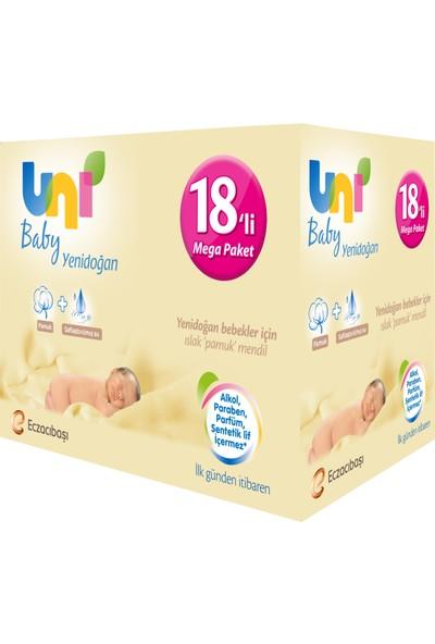 Uni Baby Yenidoğan 18X40'lı 720 Adet Islak Pamuk Mendil Paketi