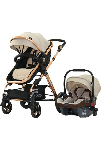 Yoyko Luxury Seyahat Sistem Bebek Arabası 3 İn 1 Gold Rose