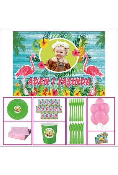 Flamingo Kız Çocuğu 1 Yaş Doğum Günü Özel Set 20 Kişilik