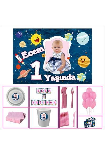 Uzay Kız Çocuğu 1 Yaş Doğum Günü Özel Set 40 Kişilik