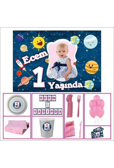 Uzay Kız Çocuğu 1 Yaş Doğum Günü Standart Set 30 Kişilik