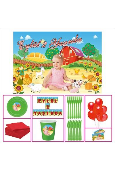 Kız Çocuğu 1 Yaş Doğum Günü Çiftlik Özel Set 30 Kişilik