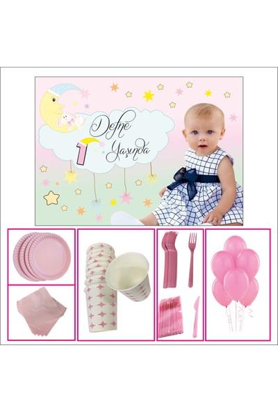 Kız Çocuğu 1 Yaş Doğum Günü Aydede Standart Set 20 Kişilik