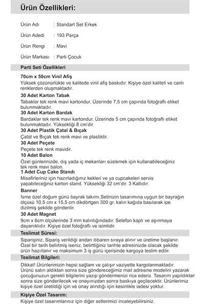 Doğum Günü 3 Yaş Standart Set Mavi Erkek 30 Kişilik Parti Çocuk