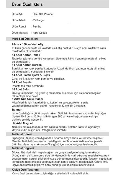 Parti Çocuk Doğum Günü Özel Set 2 Yaş Kız Çocuğu Pembe 14 Kişilik