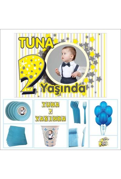 Parti Çocuk Doğum Günü 2 Yaş Standart Set Mavi Erkek 30 Kişilik