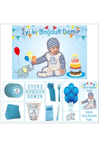 Parti Çocuk Doğum Günü 1 Yaş Suprizli Set Mavi Erkek 14 Kişilik