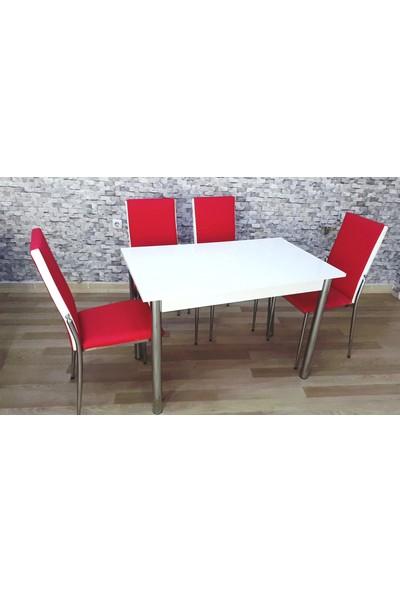 Kutuphome Gözde Masa Sandalye Takımı Kırmızı