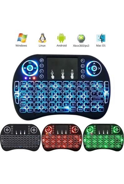 Rezqe Işıklı Kablosuz Mini Klavye SmartTV Televizyon PS3 Dokunmatik Mouse