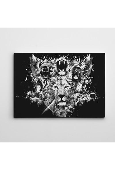 Dekolata Hayvanlar Siyah Beyaz Kanvas Tablo Boyut 30 x 40