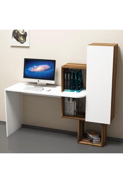 Variant Concept Açelya Kitaplıklı Çalışma Masası Ceviz - Beyaz