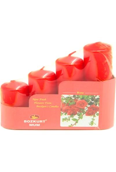 Kazanabil Kokulu Kütük Mum Seti 4lü Kırmızı 3,5 cm