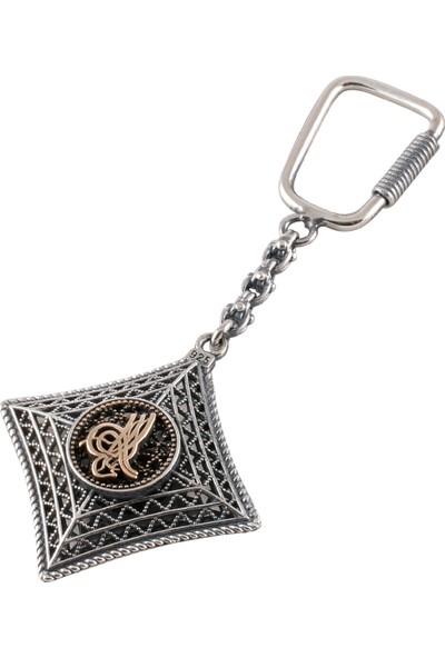 Akyüz Gümüş Osmanlı Tuğralı Ay Yıldızlı Telkari Gümüş Anahtarlık Anh035