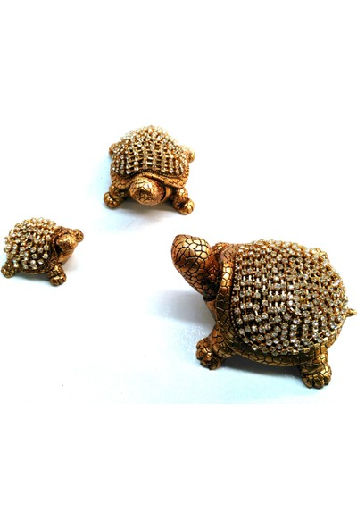 Naturel Dekoratif 3 Lü Kaplumbağa Biblo E-427
