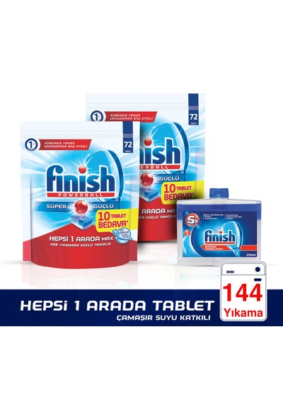Finish Hepsi Bir Arada 144 Tablet Bulaşık Makinesi Deterjanı (72x2) + Makine Temizleyici 250 ml