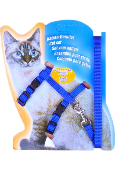 Katzen Katzen Kedi Göğüs Tasması Düz Mavi