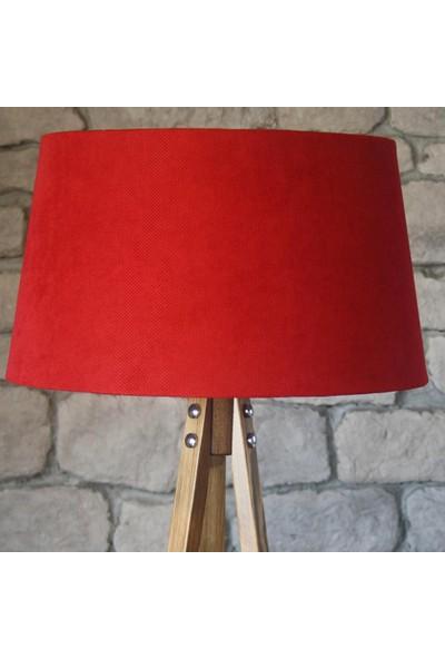 Ağaç Ustası Masif 3 Ayaklı Lambader Naturel Kırmızı Şapka