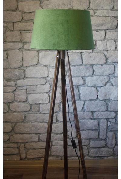 Ağaç Ustası Masif 3 Ayaklı Lambader Ceviz Yeşil Şapka