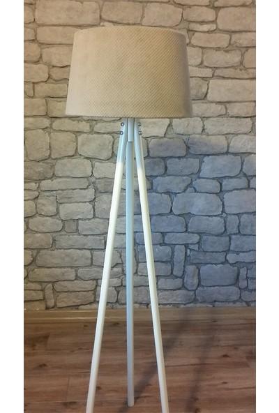 Ağaç Ustası Masif Oval 3 Ayak Lambader Beyaz Renk