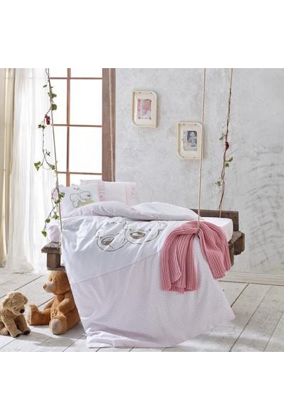 Ecocotton Organik Pamuk Bebek Nevresim Takımı Twinbears-Pink