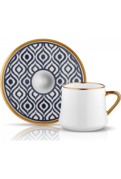 Koleksiyon Sufi Ikat Çay Fincan Seti 6Lı Antrasit