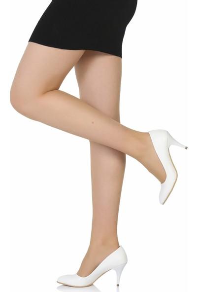 Sothe Ba-1017 Kadın Beyaz Deri Kısa Topuklu Stiletto
