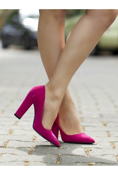 Sothe Ba-1023 Kadın Fuşya Süet Kalın Topuklu Stiletto