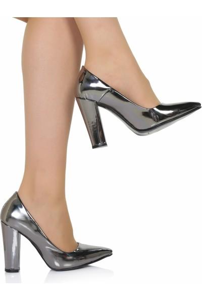 Sothe Ba-1023 Kadın Platin Ayna Kalın Topuklu Stiletto