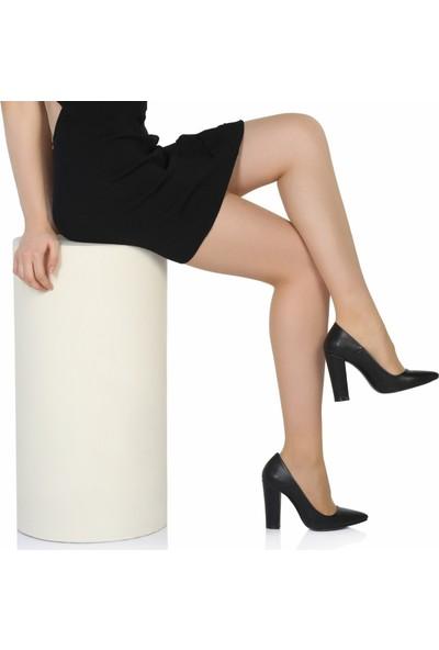 Sothe Ba-1023 Kadın Siyah Deri Kalın Topuklu Stiletto