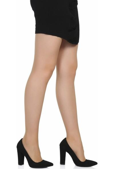 Sothe Ba-1023 Kadın Siyah Süet Kalın Topuklu Stiletto