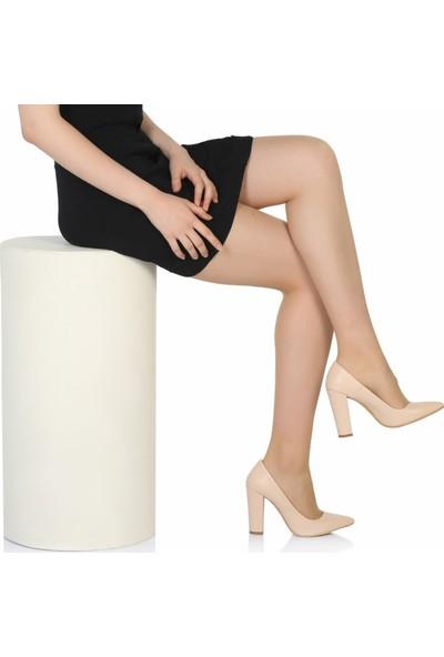 Sothe Ba-1023 Kadın Ten Deri Kalın Topuklu Stiletto