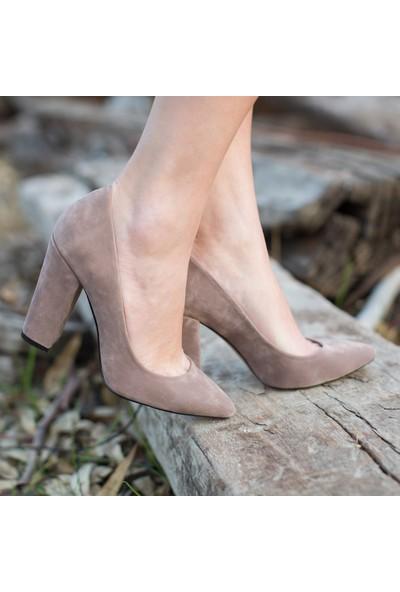 Sothe Ba-1023 Kadın Vizon Süet Kalın Topuklu Stiletto