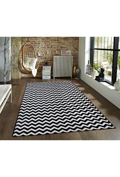 Saray Halı 010 Ela 120x170 cm Zikzak Desen Siyah Beyaz Modern Halı