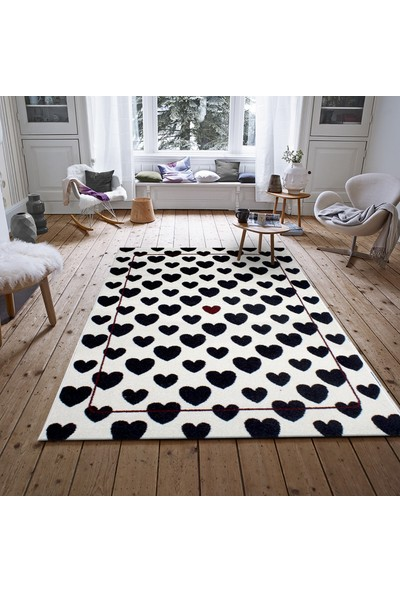 Saray Halı 017 Ela 120x170 cm Kalp Desenli Siyah Beyaz Modern Halı