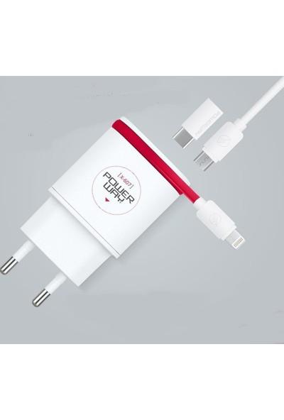 Powerway 3 İn1 Çift Usb Girişli Şarj Aleti Apple Micro Usb Type C 2 Amper Hızlı Şarj