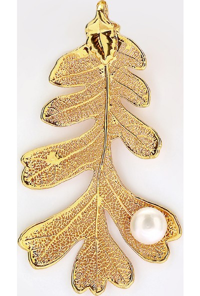 Sufi Design, 24K Altın Kaplama, Büyük Boy Gerçek Yaprak, Gümüş İncili Kolye Hbr3280