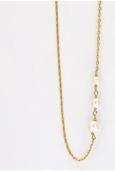 Sufi Design, 24K Altın Kaplama, Küçük Boy Gerçek Yaprak, Gümüş İncili Kolye Hbr3244