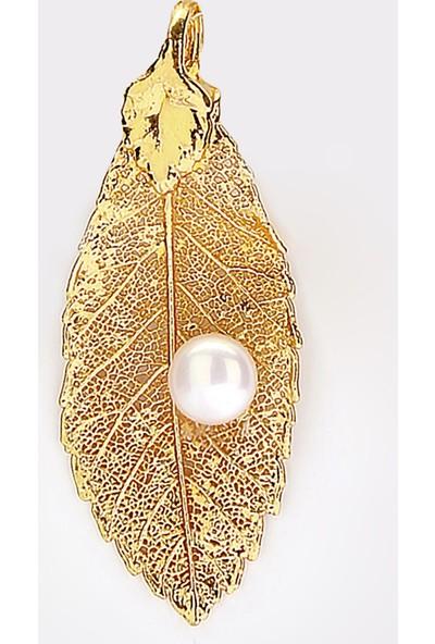 Sufi Design, 24K Altın Kaplama, Küçük Boy Gerçek Yaprak, Gümüş İncili Kolye Hbr3248