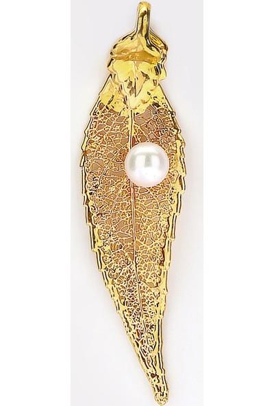 Sufi Design, 24K Altın Kaplama, Küçük Boy Gerçek Yaprak, Gümüş İncili Kolye Hbr3254