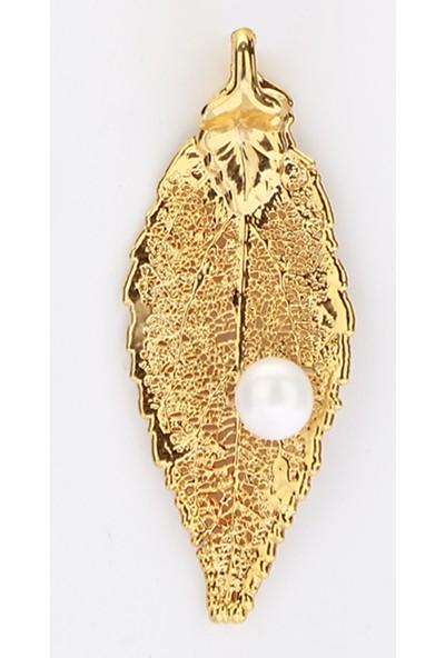 Sufi Design, 24K Altın Kaplama, Küçük Boy Gerçek Yaprak, Gümüş İncili Kolye Hbr3255