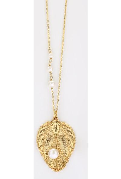 Sufi Design, 24K Altın Kaplama, Küçük Boy Gerçek Yaprak, Gümüş İncili Kolye Hbr3258