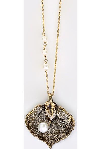 Sufi Design, 24K Altın Kaplama, Küçük Boy Gerçek Yaprak, Gümüş İncili Kolye Hbr3262