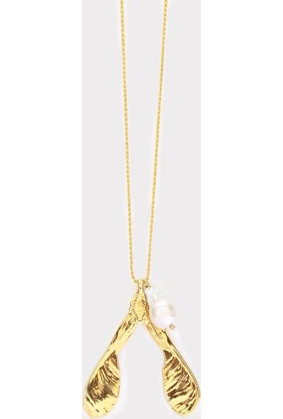 Sufi Design, 24K Altın Kaplama, Orta Boy Gerçek Yaprak, Gümüş İncili Kolye Hbr3302
