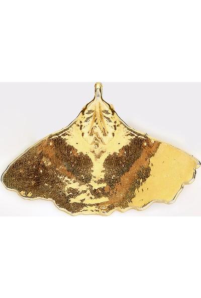 Sufi Design, 24K Altın Kaplama, Orta Boy Gerçek Yaprak, Gümüş İncili Kolye Hbr3306