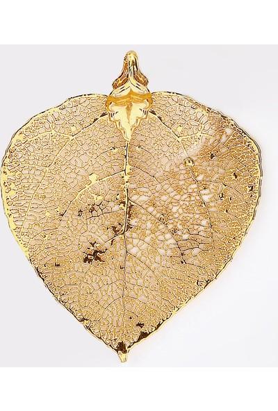 Sufi Design, 24K Altın Kaplama, Orta Boy Gerçek Yaprak, Gümüş İncili Kolye Hbr3308
