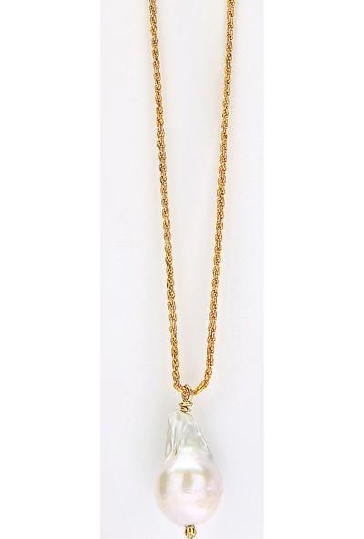 Sufi Design, 24K Altın Kaplama, Orta Boy Gerçek Yaprak, Gümüş İncili Kolye Hbr3313