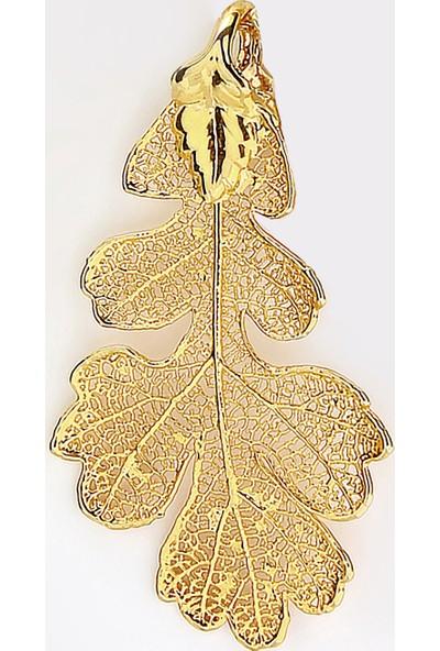 Sufi Design, 24K Altın Kaplama, Orta Boy Gerçek Yaprak, Gümüş İncili Kolye Hbr3316
